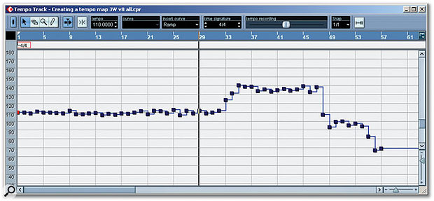 This second tempo map was created using whole-note tapping. The earlier bars seem a little smoother and less subsequent editing is likely to be required. However, the gradual tempo reduction between bars 47 and 57 might require work as it doesn't appear as smooth as in the quarter-note version.