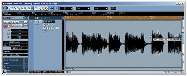 The Time Warp tool can be used to perform any final, detailed tempo editing. Note how bar two seems to hit the beat with the audio exactly but the position of bar three seems a little early. The Time Warp tool can be used to drag the position of bar three to the right to coincide with the audio transient. This would also smooth the tempo value out at bar three closer to the 108/109 bpm seen in bars one and two.