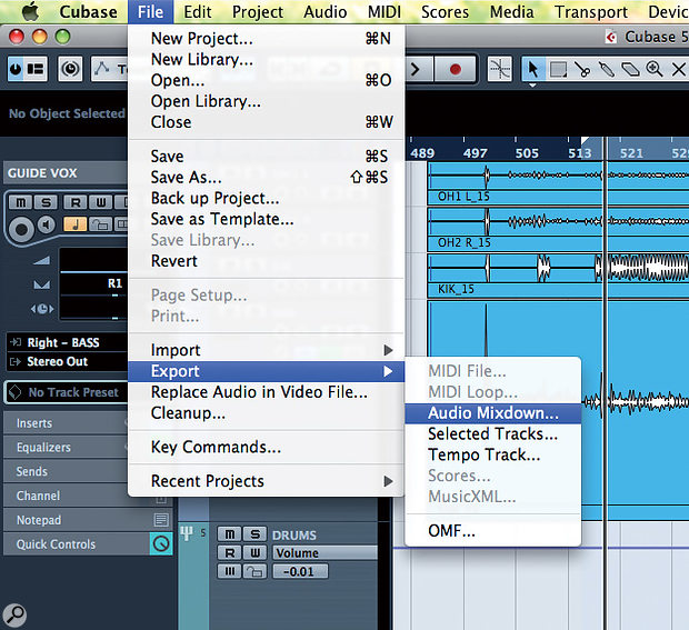 The batch export function is found in the same location as the Audio Mixdown options in previous versions of Cubase.