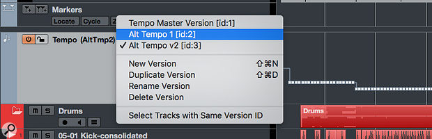 Track Versions are supported in most track types, including the Tempo Track.