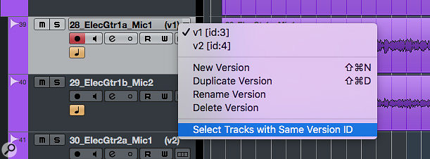 Version ID makes it easy to link Track Versions across multiple tracks and switch between them as a single action.