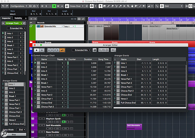 The Arranger Track now allows you to construct multiple Arranger Chains — alternative arrangements of your track — in a single Cubase project.