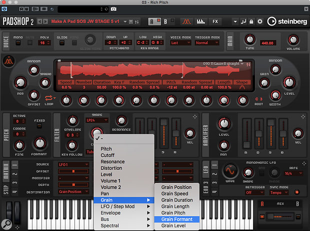 You can target a number of the Grain Oscillator's parameters for modulation in Padshop Pro 2.