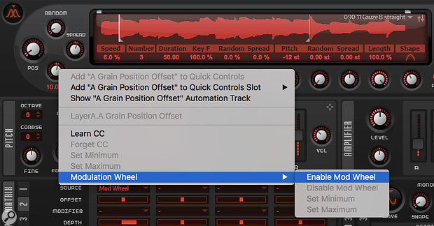 Grain Oscillator parameters can be modulated via MIDI even if they're not present in the modulation matrix. MIDI Learn is supported, as is mod wheel control.