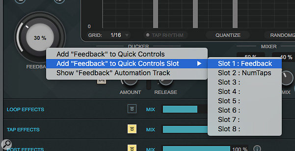 MultiTap Delay's parameters can easily be automated via the Track Quick Control system.