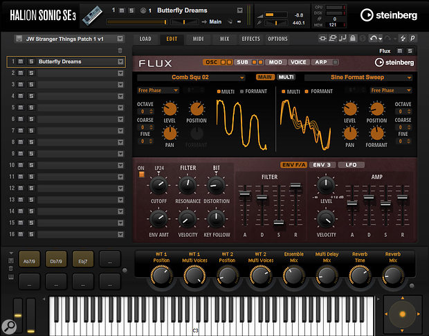 Flux is awavetable-based synth engine, included in Cubase Pro and Artist 9.5's Halion Sonic SE3.