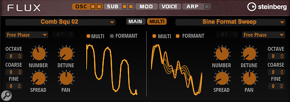 The Oscillator Multi tab offers lots of parameters for adding additional harmonic complexity.