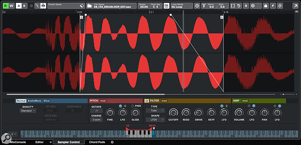 The Sampler Control panel is easy to use but still provides plenty of creative sound design options. Here, I'm turning akick drum sample into apulse sound.