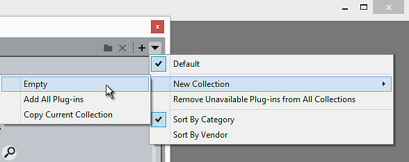 When creating a  new Collection, you can base it on the entire plug-in list or an existing Collection, or you can start from scratch by selecting Empty.