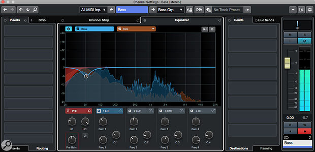 Cubase Pro 10.5's Spectral Comparison EQ can be helpful when adjusting the frequency relationship between two sources, such as kick drum and bass guitar, whose frequency ranges overlap.