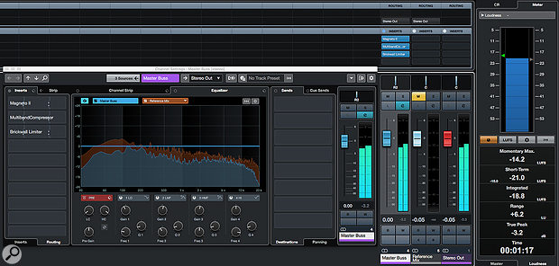 Together, Cubase's Spectral Comparison EQ facility and its Loudness Meter can provide very useful insights when comparing your mix with a reference track.