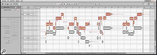 All Melodyne's editing features are retained under ARA 2, including the option to display blobs for multiple tracks in the editor, for easy reference while editing.