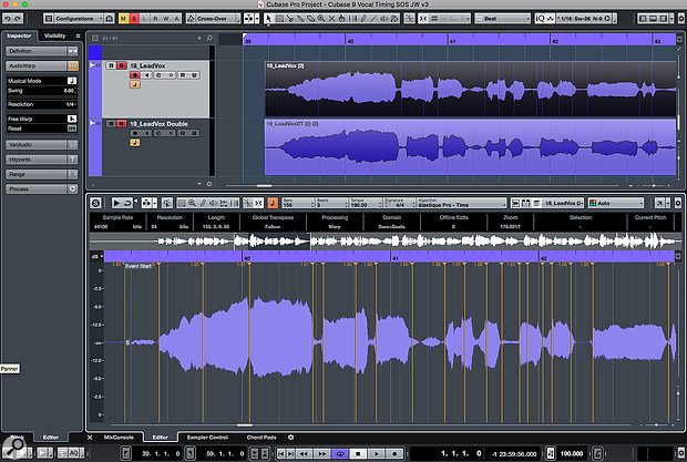 Where the lead vocal and double track have obvious timing differences, the first task it to fix any timing issues in the lead part.