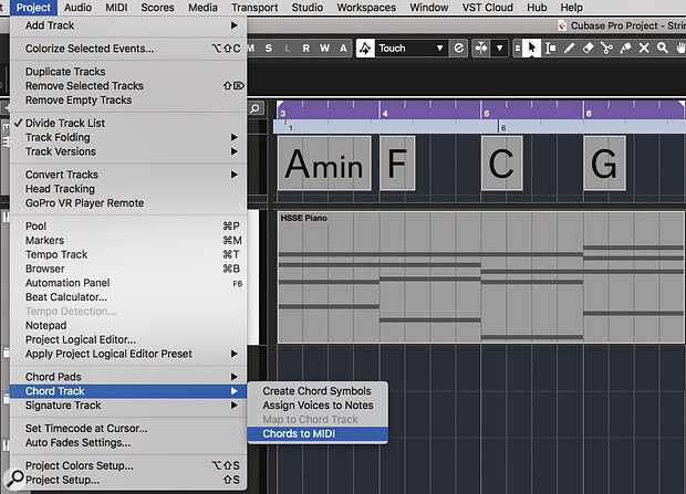 Cubase's Chord Track allows you to explore your initial chord‑progression options and then makes it easy to create a clip with the sustained MIDI notes you need to get started.
