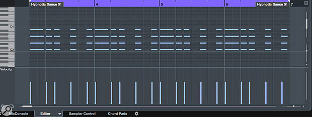 The rhythmic feel might be OK, but eight bars of Cmaj7 is perhaps not the most interesting dance chord sequence ever created!