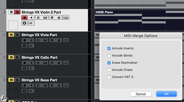 Merge MIDI In Loop can be used to render the notes created by Arpache SX and Transformer to regular MIDI clips for each string part.