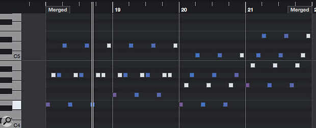 Prudent thinning out of the arpeggiator note data can create more interesting rhythmical interplay between the different string lines.