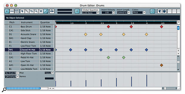 The Drum Editor provides an easy and intuitive way to program drum patterns in Cubase. Notice how colour coding each drum lane makes it much easier to see which drum is playing specific notes.