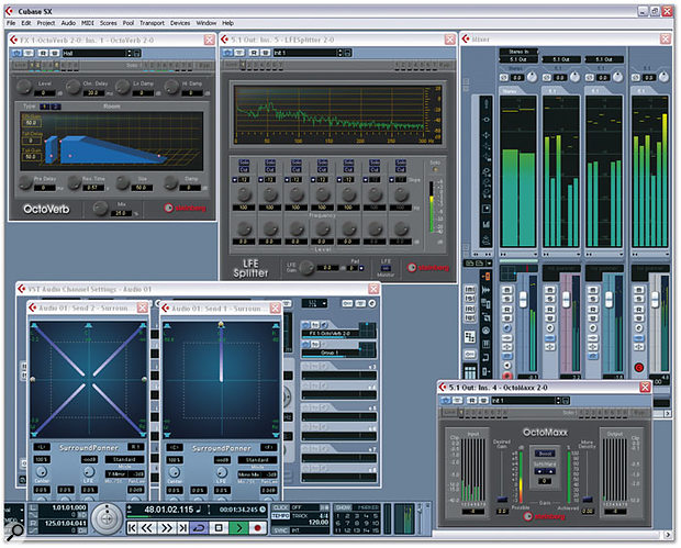 Cubase SX 2 in all its surround glory. Here, a stereo Audio channel is routed to a 5.1 output buss, with two sends routed to a 5.1 FX channel with OctoVerb and a Group Channel, respectively. LFE Splitter and OctoMaxx plug-ins are used on the 5.1 output buss as master effects.