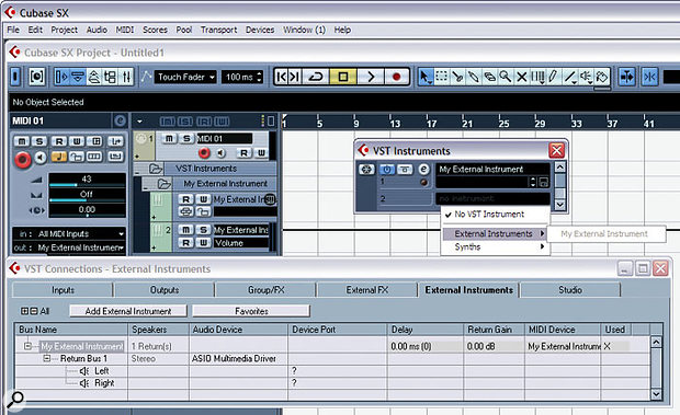Cubase SX v3.1 enables you to define external instruments in the VST Connections window, meaning that you can work with them inside Cubase in exactly the same way you would VST Instruments.