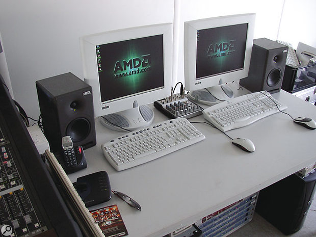 The main and backup AMD systems used to record the main stages at the Wacken festival. Note the rack under the desk containing the Rosendahl Nanoclock and the five Nuendo 8I/O converters.