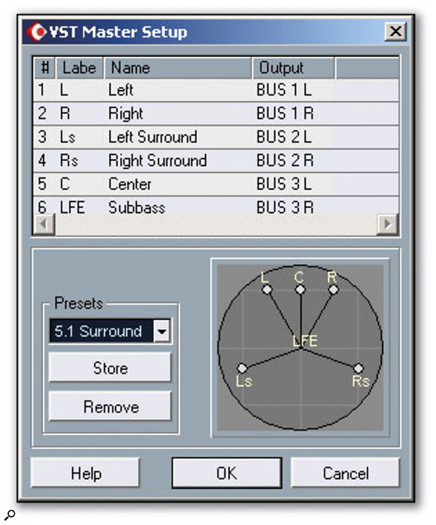 Figure 1: The VST Master Setup window allows a surround format to be selected.