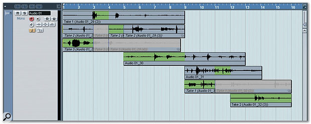 Stacked Cycle Record mode offers a neat way of working with multiple takes, presenting the multiple Lane view of the Audio Part Editor right on the Project window. Notice how the areas of each object that will play back are highlighted in green.