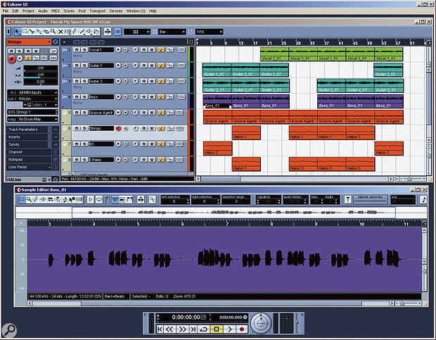 This Workspace includes both Project and Sample Editor windows. If the 'Link Editors' option is ticked in the SX Preferences window, whenever this Workspace is recalled the currently selected audio event will automatically appear in the Sample Editor. A similar Workspace could be defined for MIDI editing.