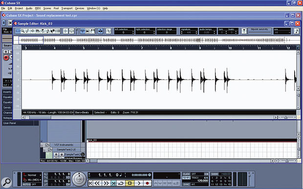 A typical kick drum part in Cubase SX's Sample Editor.