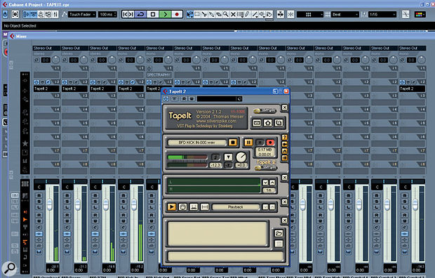 In this example, I am using Silverspike's Tape It 2 to simultaneously export several channels of audio from FXpansion's BFD virtual drummer. Tape It 2 writes the files directly to your hard drive and avoids the need for repeated use of the Export Audio function in Cubase.