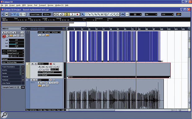 The next step is to create an empty MIDI Part extending the full length of the kick-drum Part.