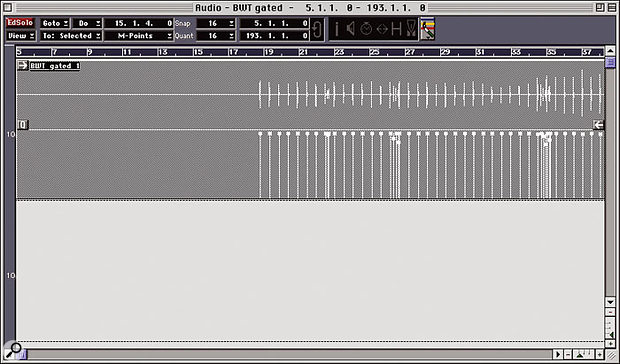My drum part in the Audio Editor, with M-Points displayed below the waveform.
