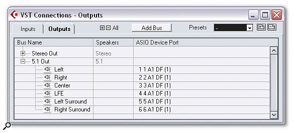 The VST Connections window enables you to set up Input and Output (pictured) busses for routing VST mixer channels to and from your physical audio hardware.