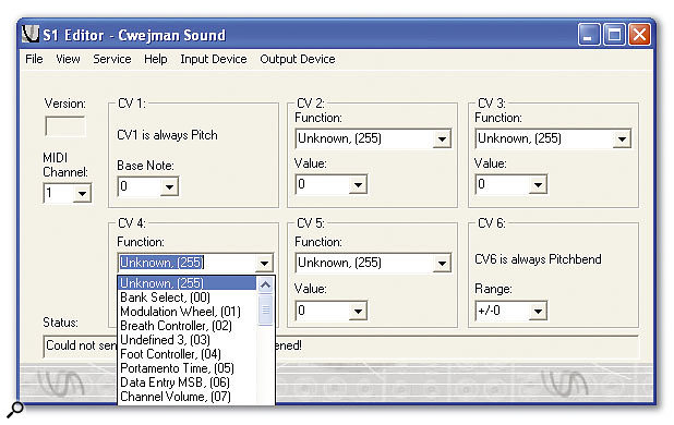 The S1's PC-based MIDI Editor, with CV4's Function Select menu open.