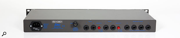 The front-panel headphone outputs are duplicated on the rear — auseful feature when rackmounting.