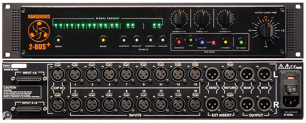 The analogue channel inputs are, helpfully, duplicated on XLR and D–sub connectors.