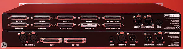 The two rack units link to each other via D-sub connectors, wired to the Tascam standard, while the remote links to the units via the same RJ45 connectors used for Ethernet.
