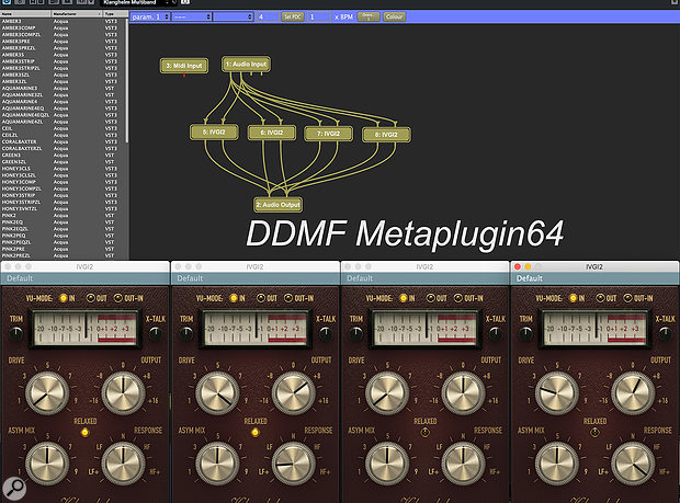 Here, Metaplugin has been used with its bundled multiband splitter to create a  four-band saturator, with separate instances of Klanghelm's freeware IVGI2 plug-in. When using the splitter, the signal can be recombined by dragging multiple outputs to a  single input.