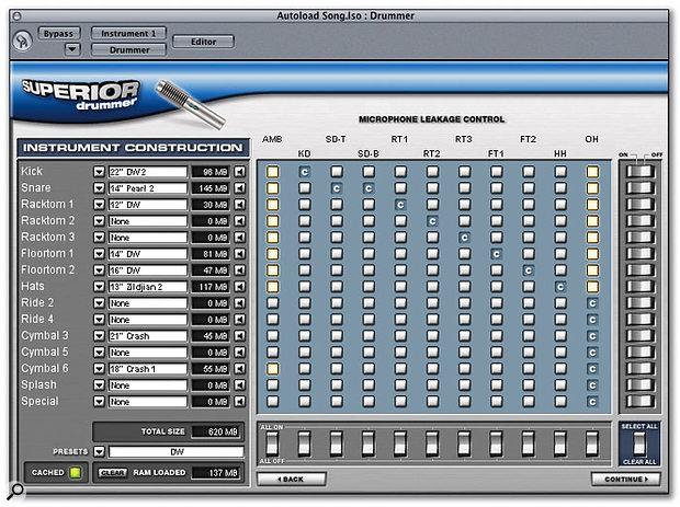 The DFH Superior drum kit construction window allows you to specify which drums will spill into which mics — but to take full advantage you'll need plenty of RAM.