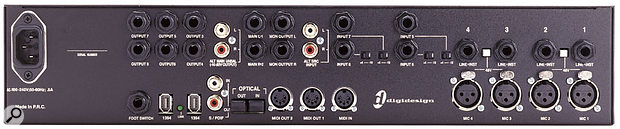 The 002 Rack features optical digital I/O that is switchable between the eight-channel ADAT format and stereo S/PDIF.