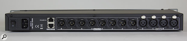 With four inputs and eight outputs, the DAE418 can be configured as a two-, three- or four-way stereo crossover, with the option to configure any unused outputs as full-range auxes.
