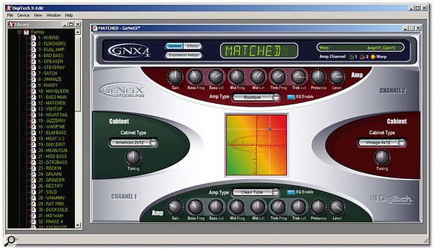 The bundled X-Edit software editing utility provides easy access to the GNX4's modelling and effects parameters.