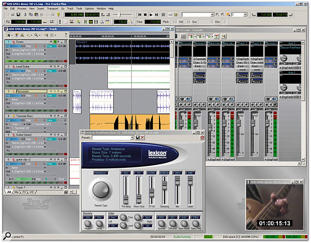 Cakewalk's Pro Tracks Plus integrates well with the USB-based MIDI and audio I/O on the GNX4 hardware. In the foreground of the screen above you can see the included Lexicon Pantheon reverb plug-in.