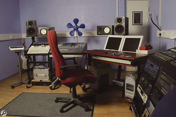 The control room at Kenwood, with the Yamaha 02R and Apple Macs used in the completion of Boy In Da Corner.