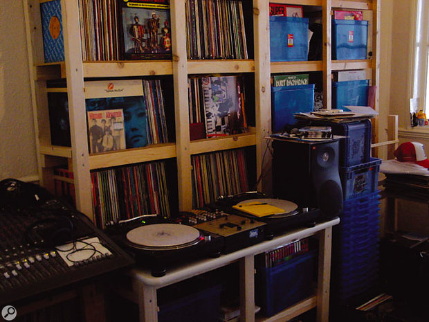 """Ford's records are organised into loose categories, depending on their sampling potential: """"These are all records with really nice drum breaks on,"""" he says, indicating one of the many racks. """"I always keep drums separate. These are drum breaks and bass lines for up-tempo, B-boy stuff, and this pile here is similar, but more '80s old-school sounding drums — still up-tempo, but 110-115 rather than 120-130 bpm."""""""