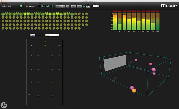 The scalable nature of Dolby Atmos means that the RMU routing matrix must be 'told' the number and location of all the speakers in a given system, using a software package called Dolby Atmos Designer.