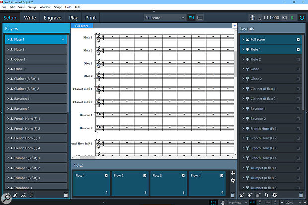 Setup mode is where you manage Players, Flows and Layouts. Here's what it looks like after starting a new project with the Concert orchestra template.
