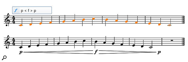 By selecting the notes and entering the text shown into the Dynamics pop-over (top), you get the result shown at the bottom.