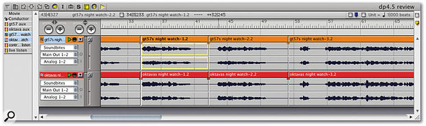 The Sequence Editor is where you do most of your non-destructive audio editing, working with so-called 'soundbites'. A range of editing options is available directly using the mouse, but additional actions can be applied via the menus.