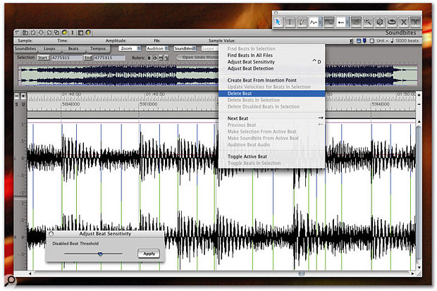The Beat Detection Engine is one of DP 4.5's major new features. Audio files are analysed for their transient content and the resulting beats 'flagged'. Audio can then be time-stretched or compressed with minimal artifacts, quantised, and subject to a range of beat-driven editing functions. The Waveform Editor, shown here, is where you get to the heart of the Beat Detection process.